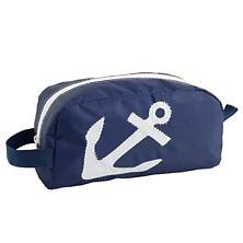 White On Navy Anchor Toiletry Bag