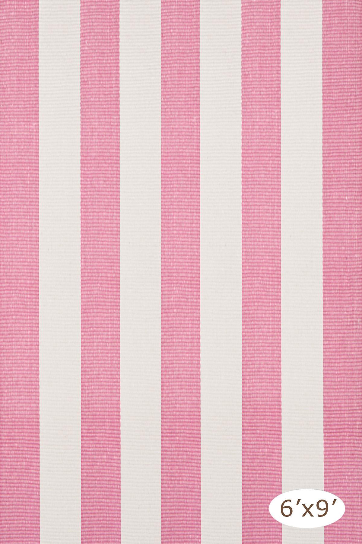 Yacht Stripe Pink/White Woven Cotton Rug