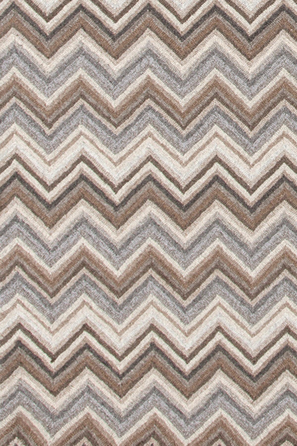 Zigzag Natural Micro Hooked Rug