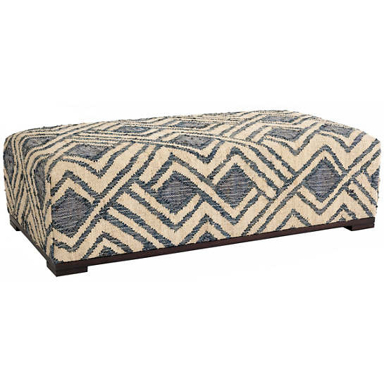 Zinnia Blue Upholstered Rug Bench