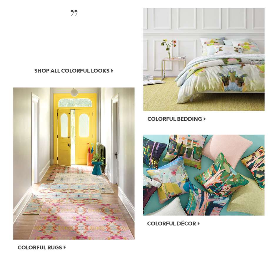 Colorful Bedding, Rugs, Decor
