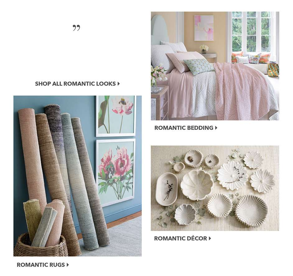 Romantic Bedding, Rugs, Decor Styles